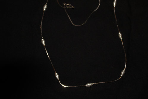 Silver Chain with Foxy Pearls