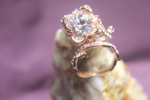 Lotus Flower White Topaz Ring Set Wedding Set