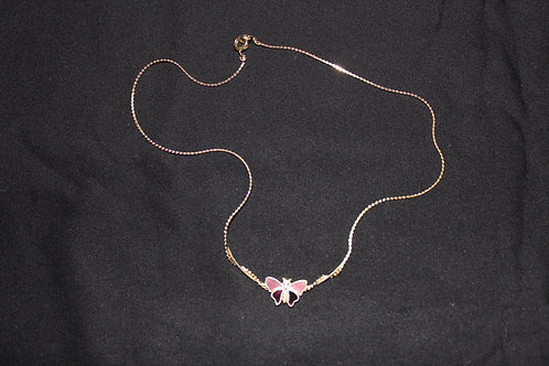 Small Butterfly on golden necklace