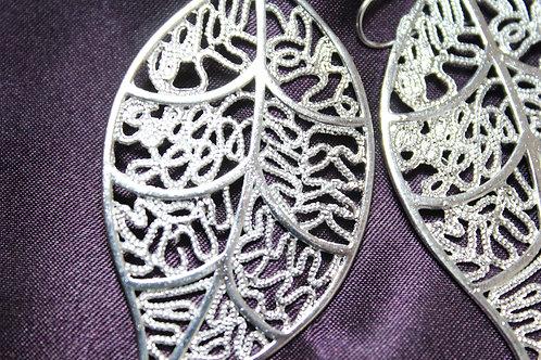 .925 Silver Leaf Earings
