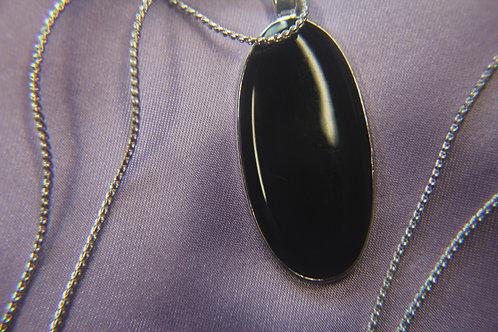 Oval Black Onyx Necklace