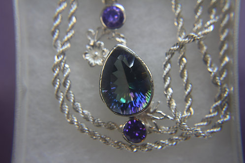 .925 Silver Mystic Topaz Necklace