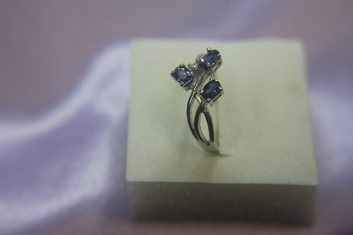Sterling Silver Ring with 3 Blue Sapphires