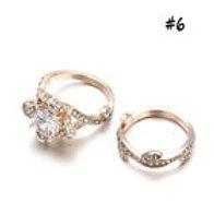 Lotus Flower White Topaz Wedding Ring Set