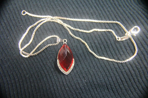 Red Topaz set in .925 Seat Necklace