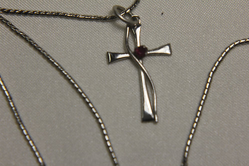 Sterling Silver Cross with Topaz