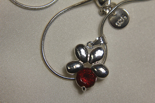 Red Topaz in .925 Silver Flower