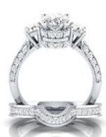 White Sapphire Wedding Band Ring Set