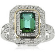 .925 Silver &14k Gold  Emerald Art Deco Ring
