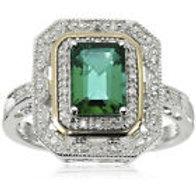 925 Silver & 14 k Gold Emerald Art Deco Ring