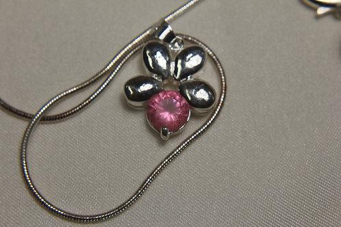 Pink Topaz in .925 Silver Flower