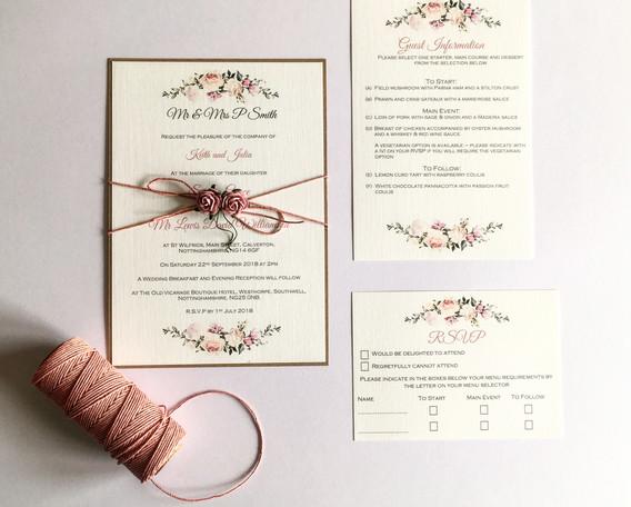 Flora wedding invitation suite