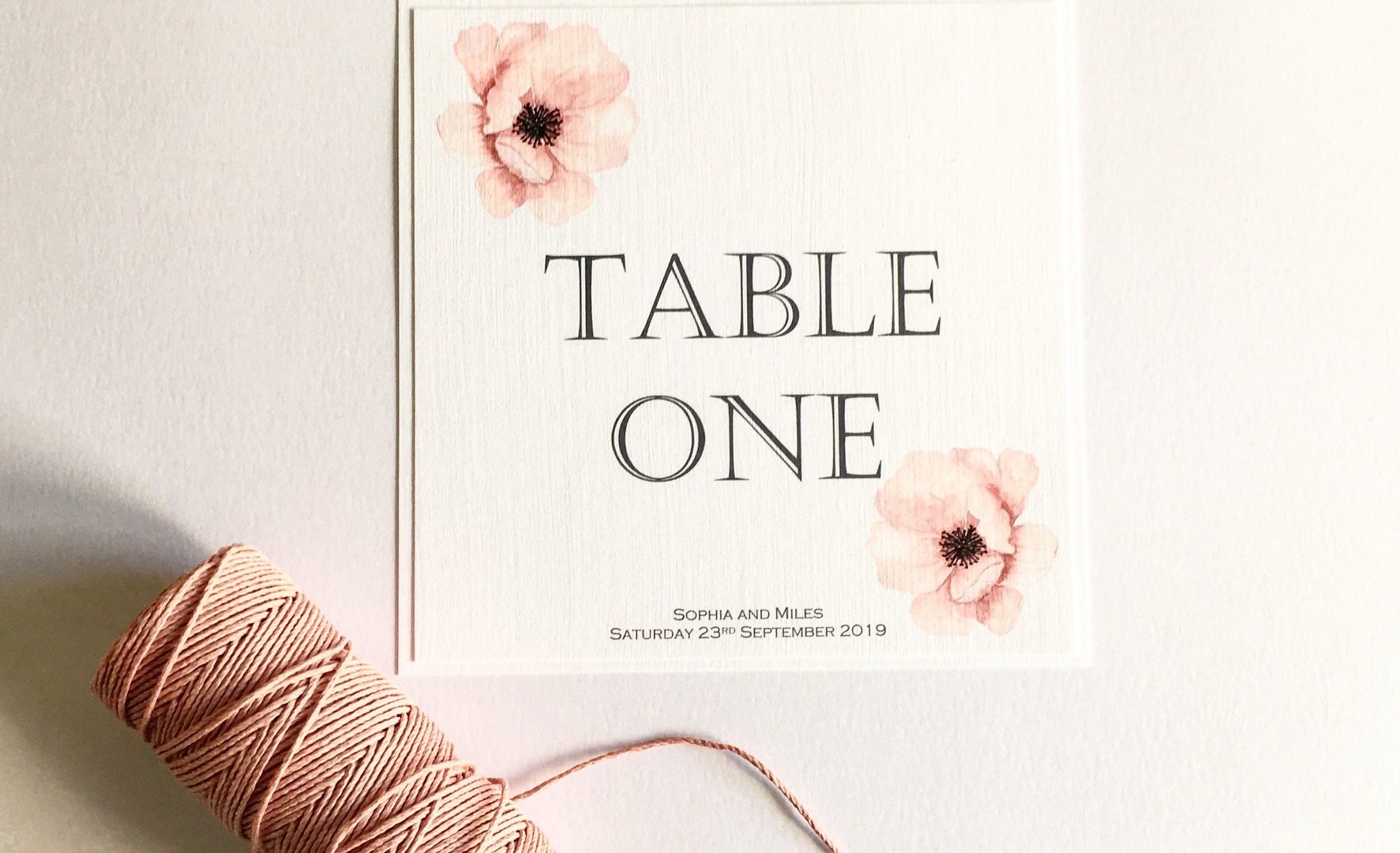 Watercolour rose wedding table number