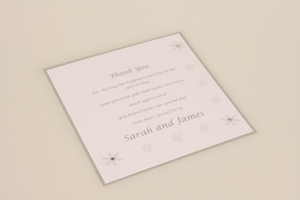 winter wedding thank you card