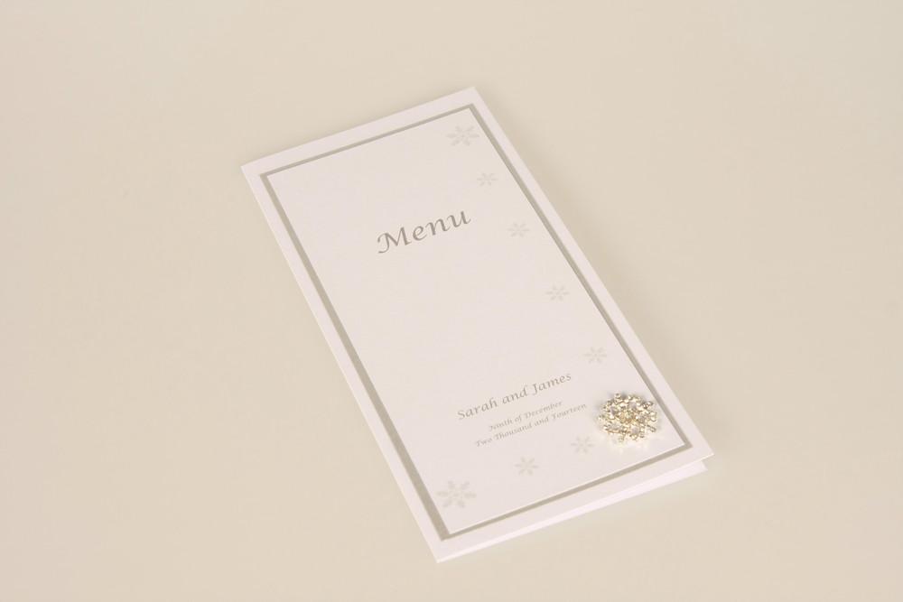 winter wedding table menu