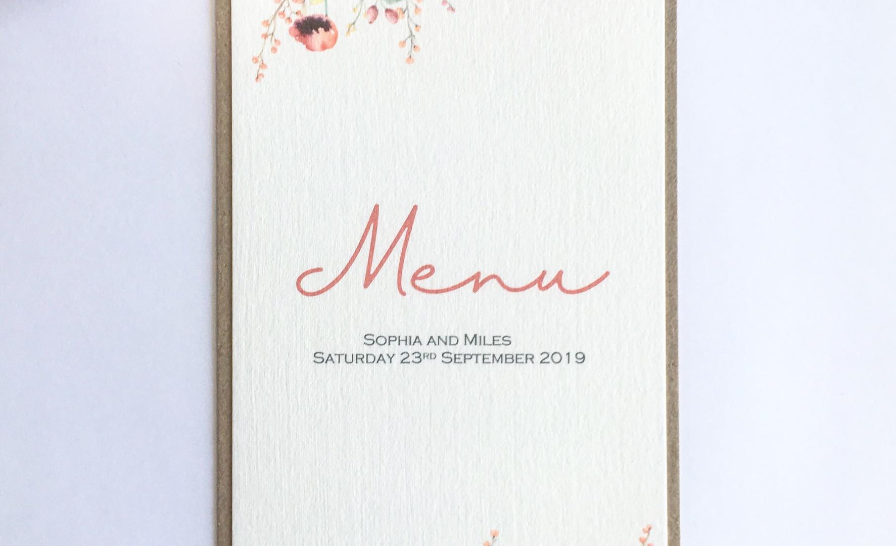 Emily Wedding Table Menu