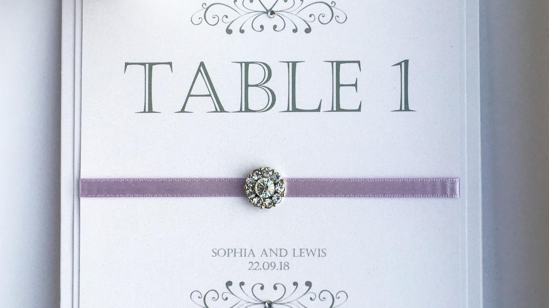 Romance Wedding Table Number