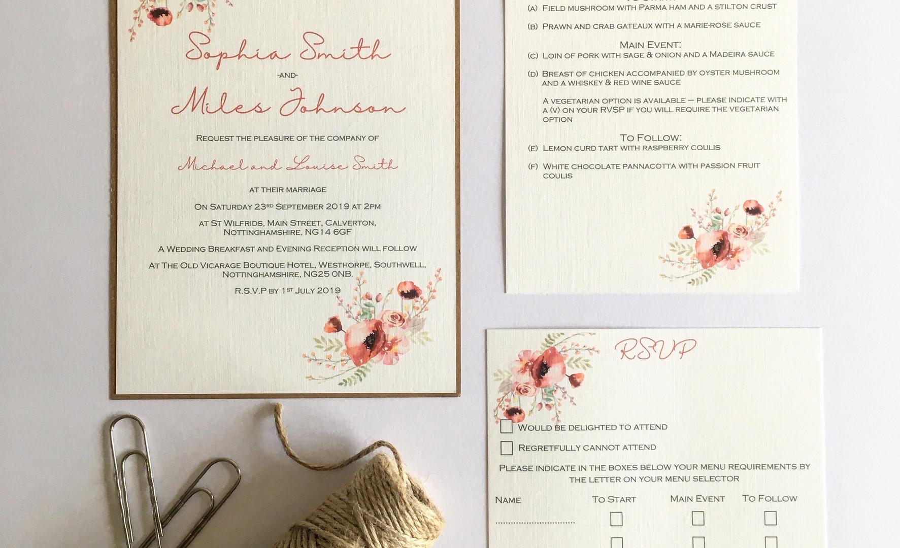 Emily Rustic Wedding Invitation Suite