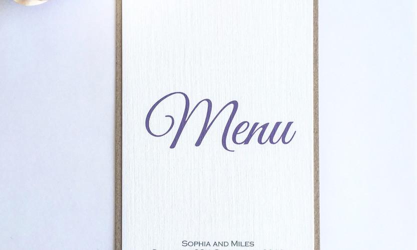 Leah floral wedding table menu