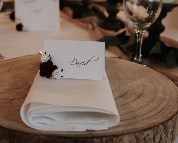 Vintage wedding place card with roses.jp
