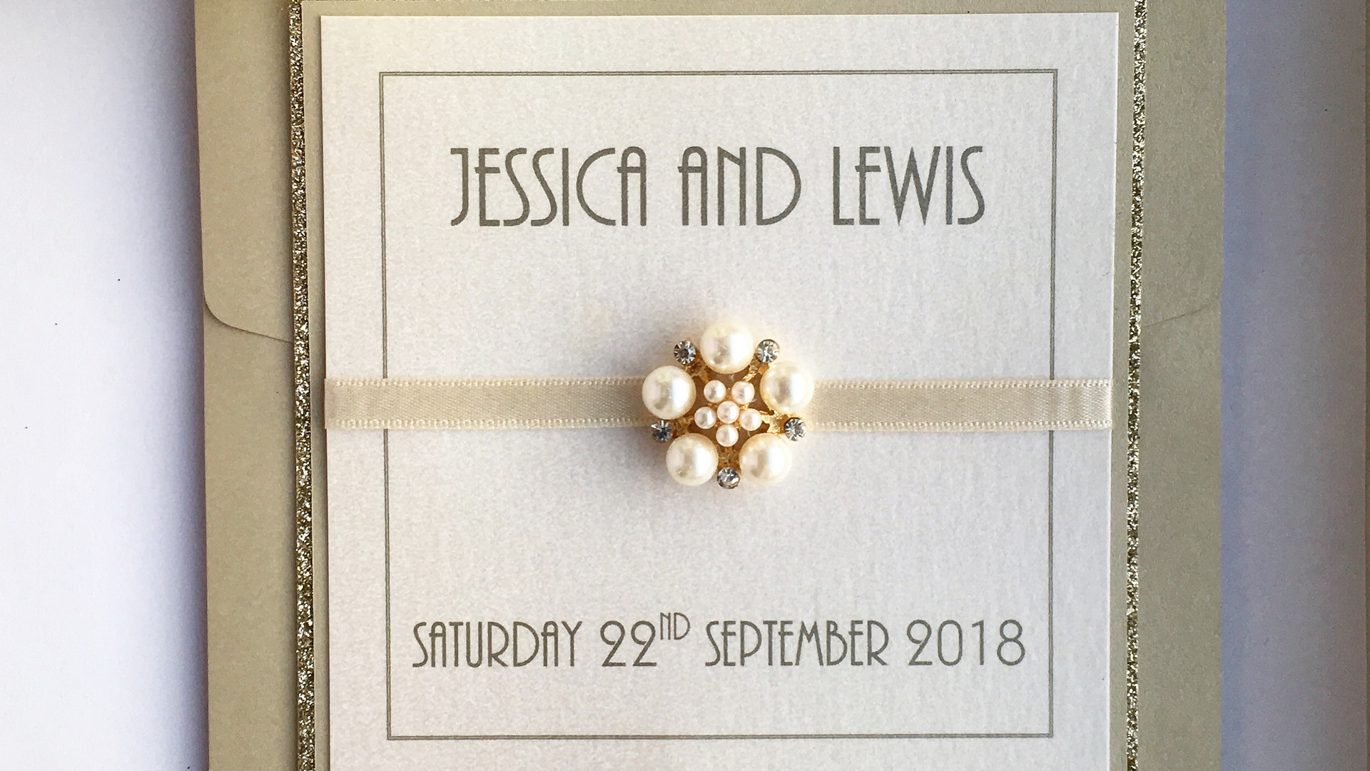 Love Pocketfold Wedding Invitation in Gold