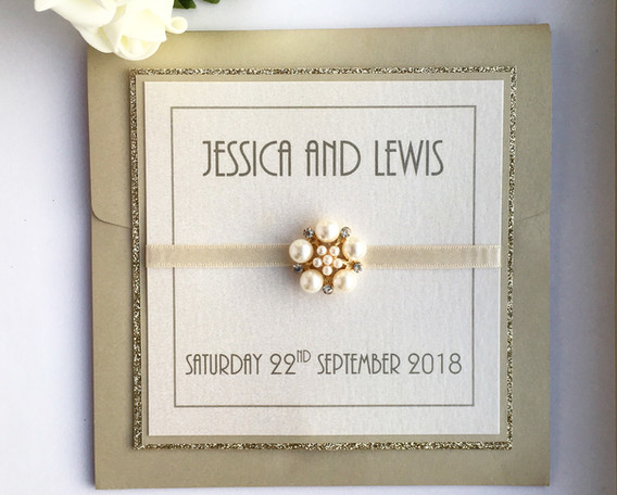 Love Pocketfold Wedding Invitation in Gold