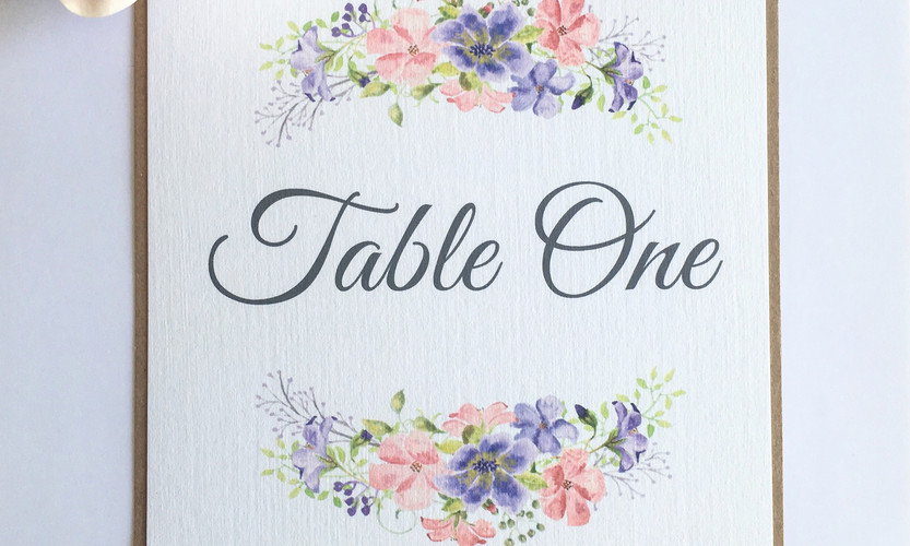 Leah floral wedding table number