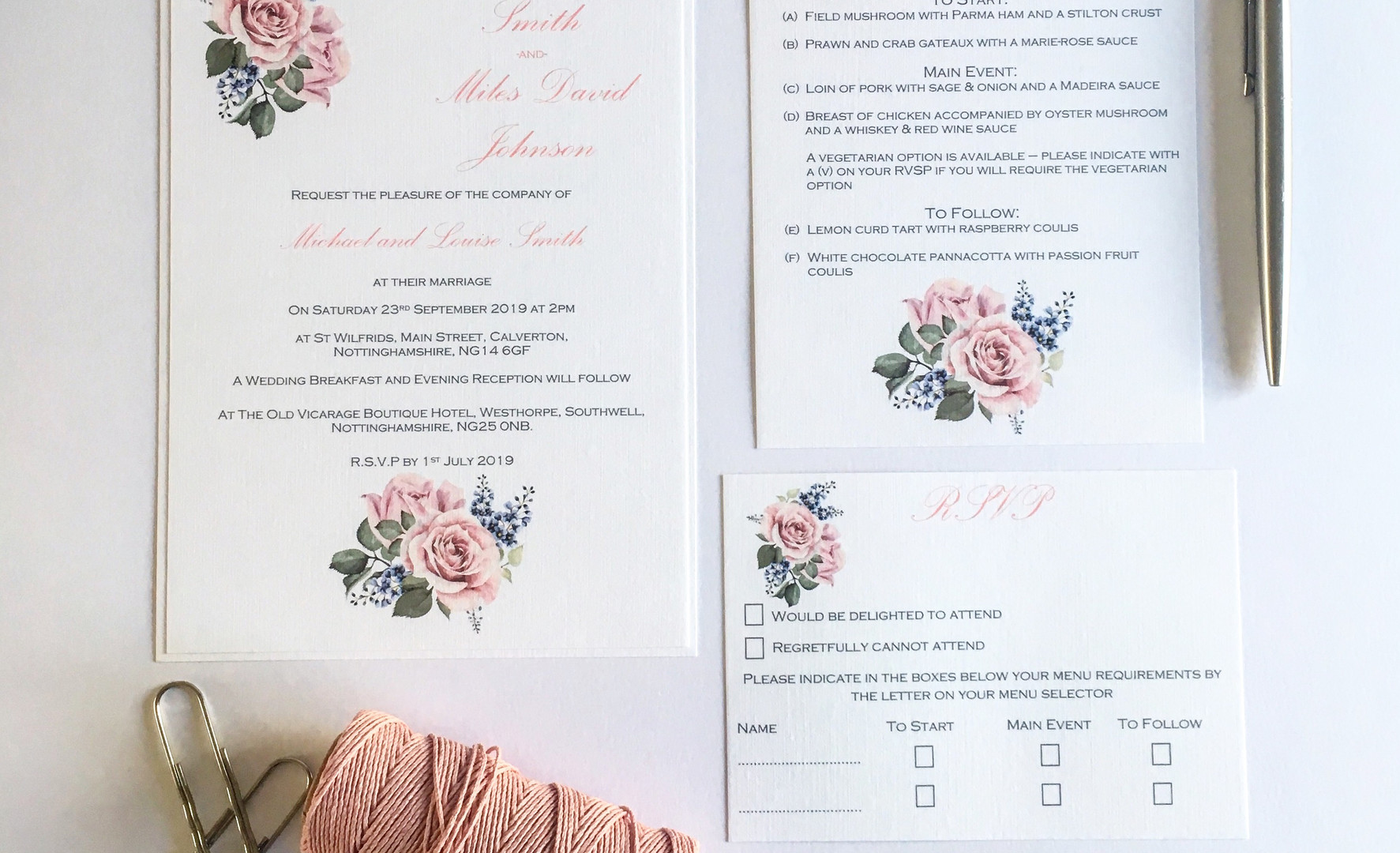 Rose Wedding Invitation Bundle