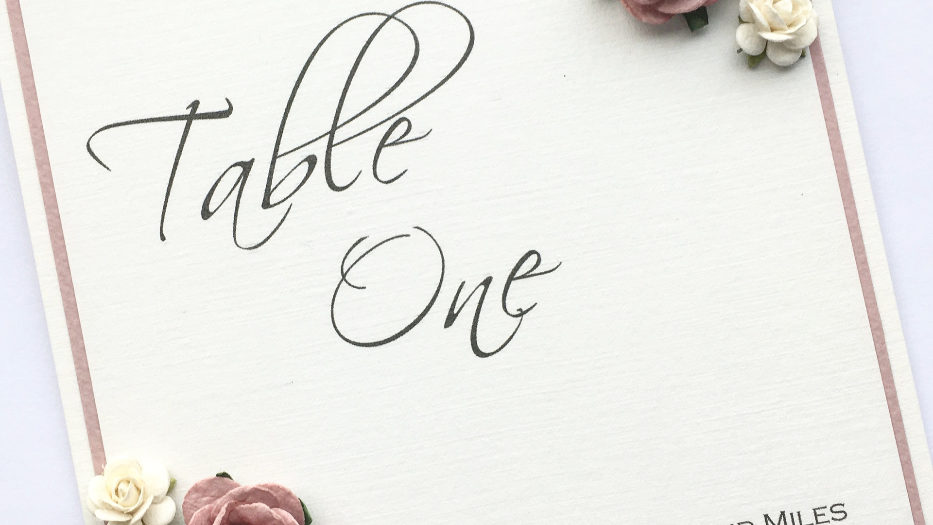 Cherish Rustice Wedding Table Number with Roses