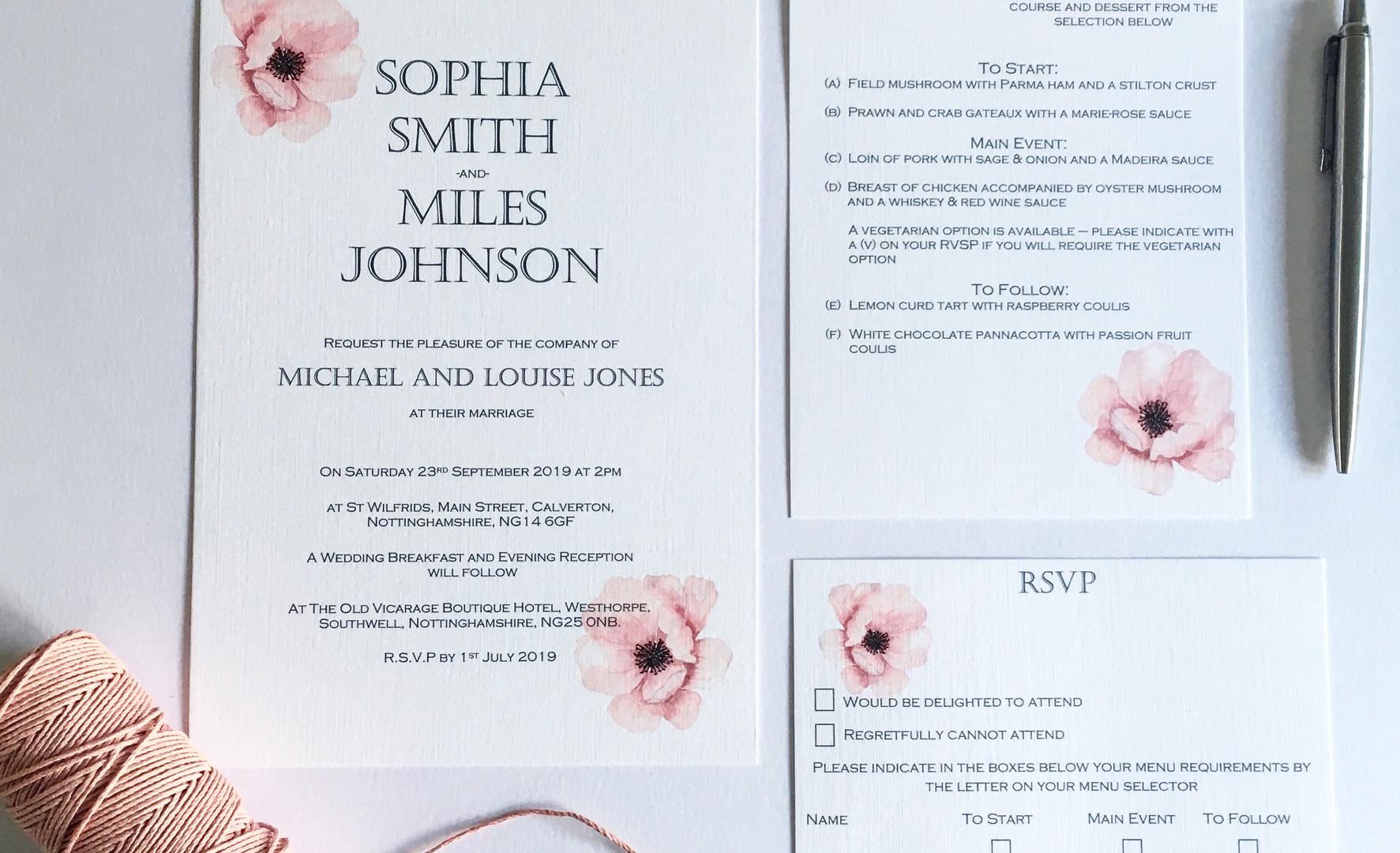 Watercolour rose Wedding Invitation Suite