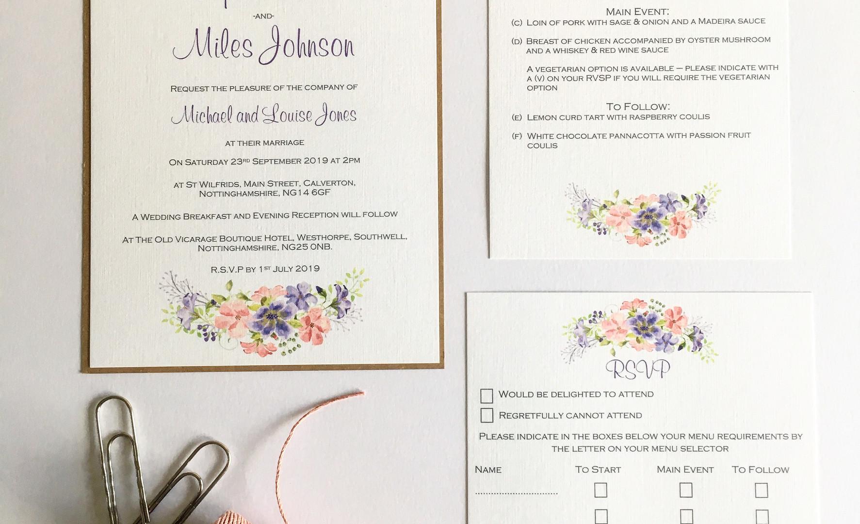 Leah floral wedding invitation suite