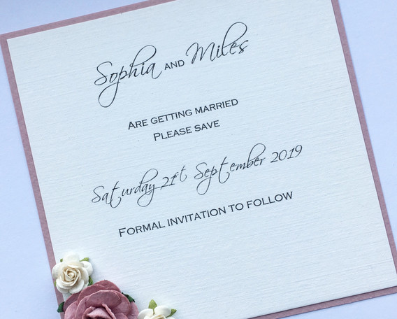 Cherish Save the Date Card with roses