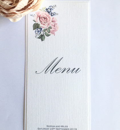 Rose Wedding Table Menu