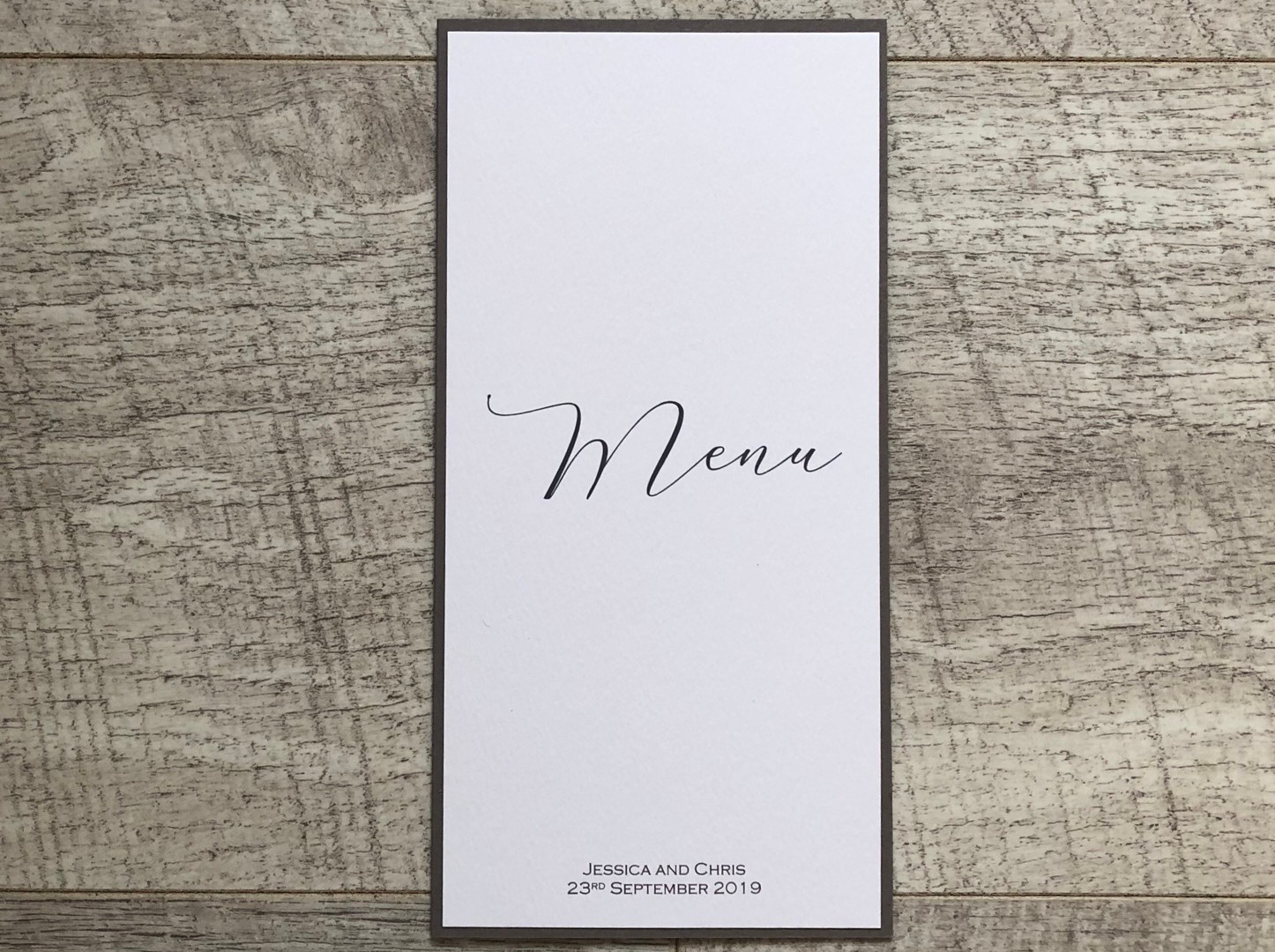 Calligraphy Wedding Table menu