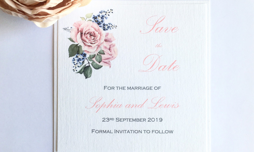 Rose Save the Date Card