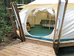 glamping tent at smith lake farm