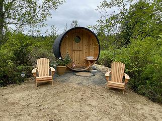 barrel sauna at smith lake farm