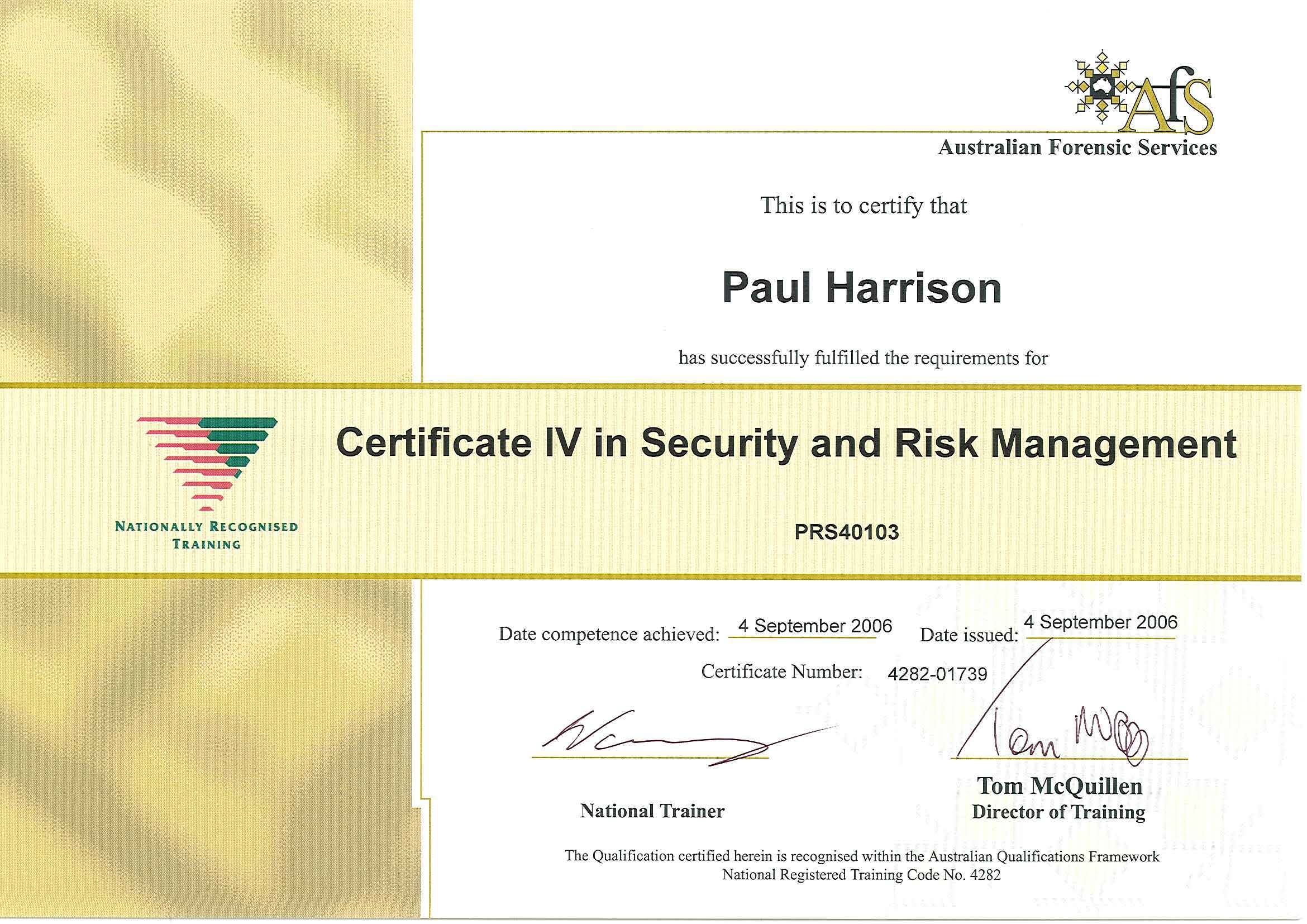 Cert IV in Security & Risk Managment