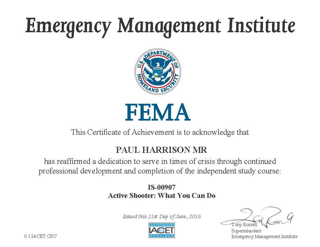 FEMA Active Shooter Cert