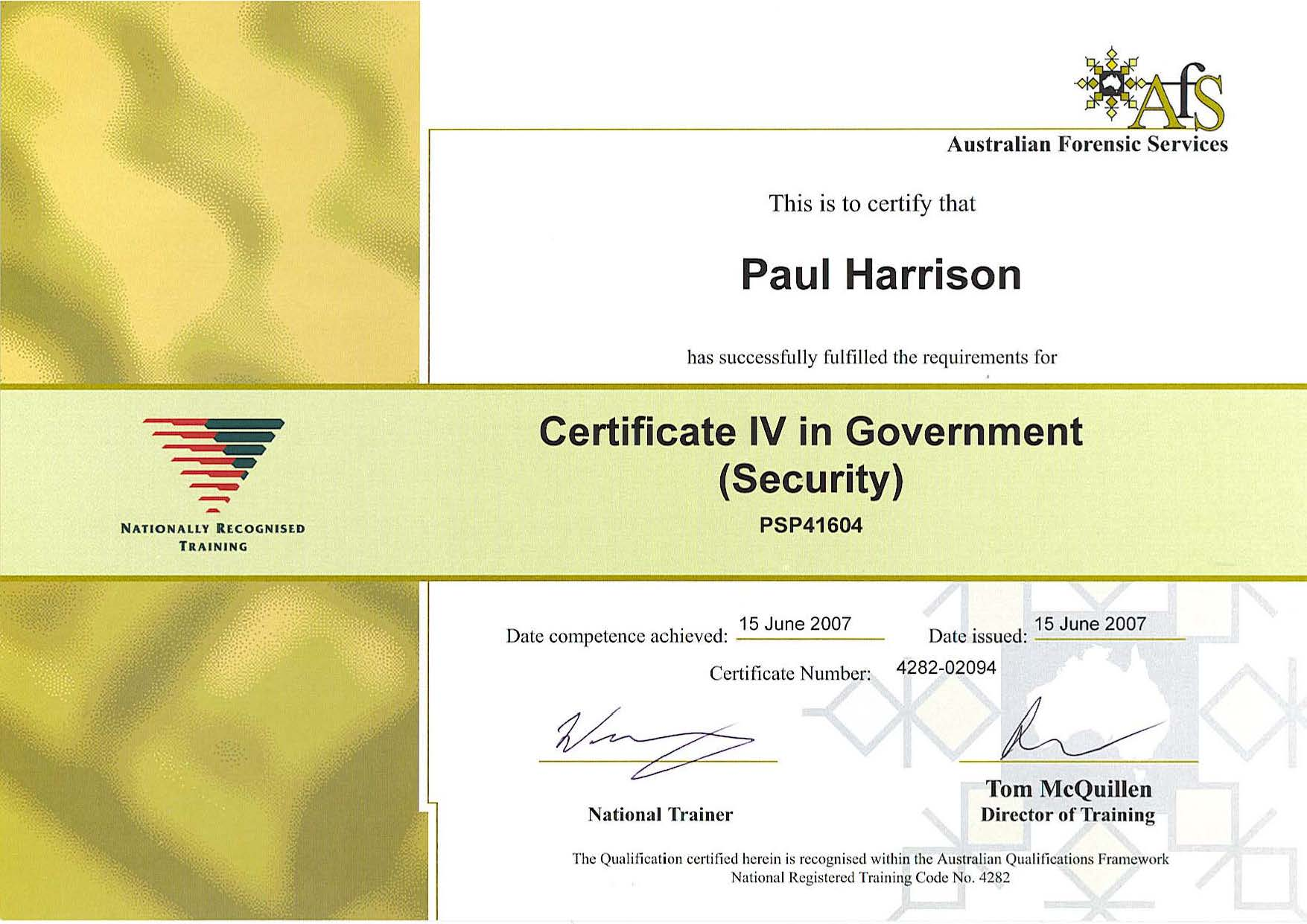 Cert IV Government Security