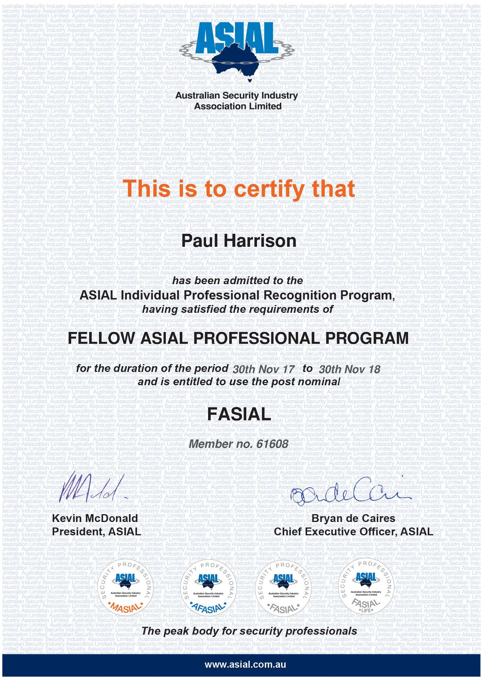 FASIAL Individual recognition certificate