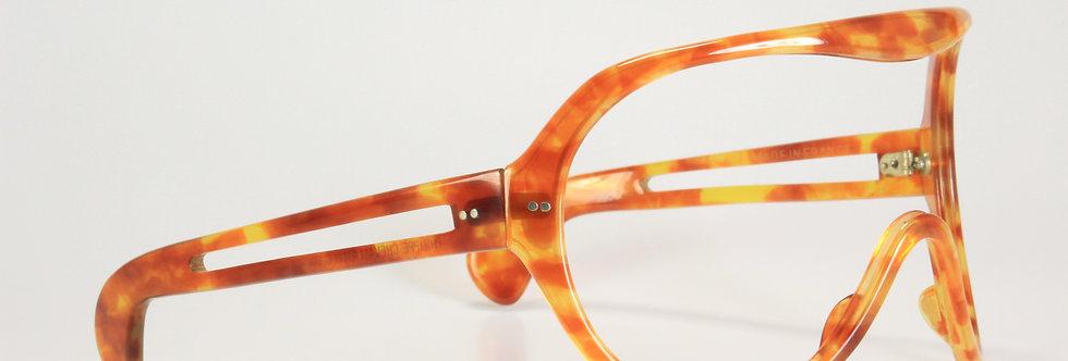1970s Philippe Chevallier Frame France Amber Huge Aviator Shield Sunglasses