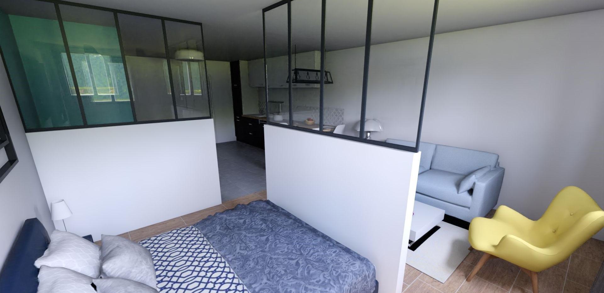 Vue 3D de la chambre, réalisée par l'Atelier De Nath