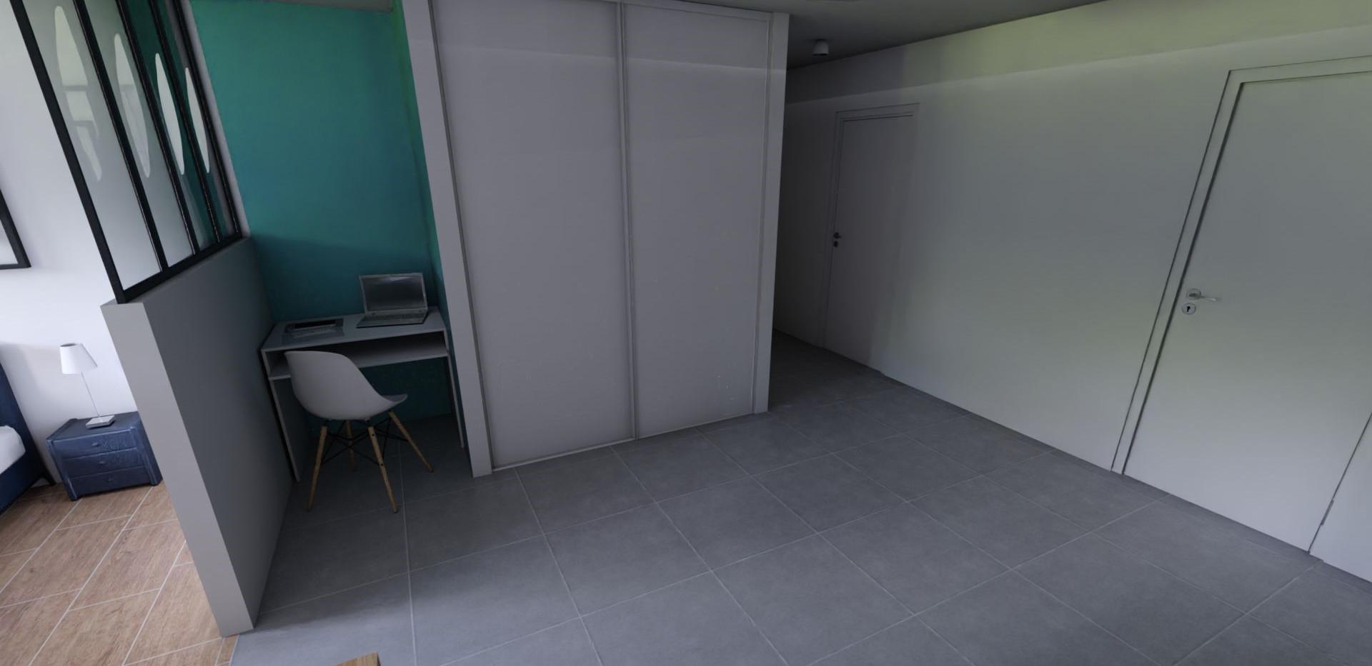 Vue 3D de l'entrée, réalisée par l'Atelier De Nath