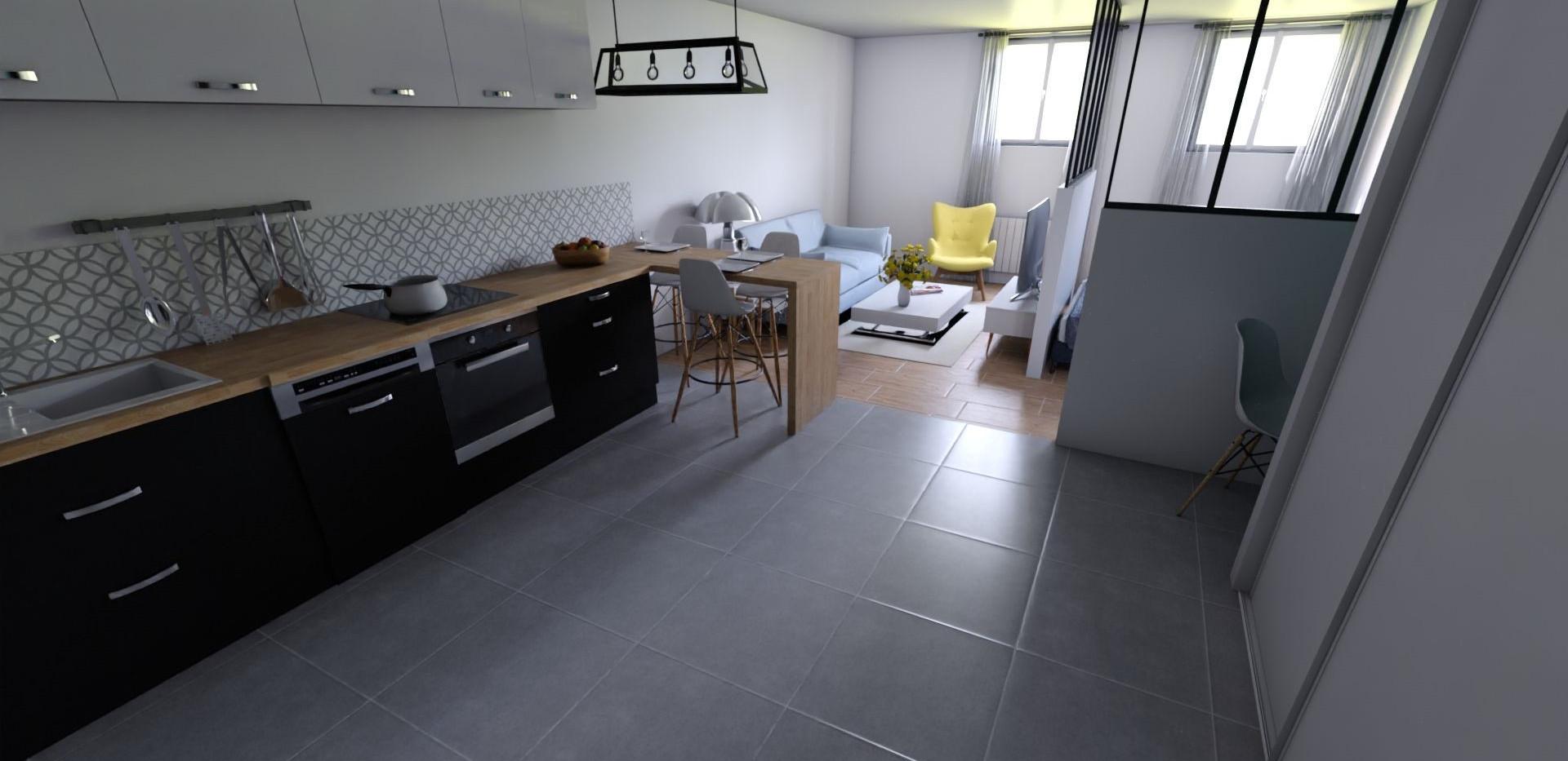 Vue 3D de l'appartement, réalisée par l'Atelier De Nath