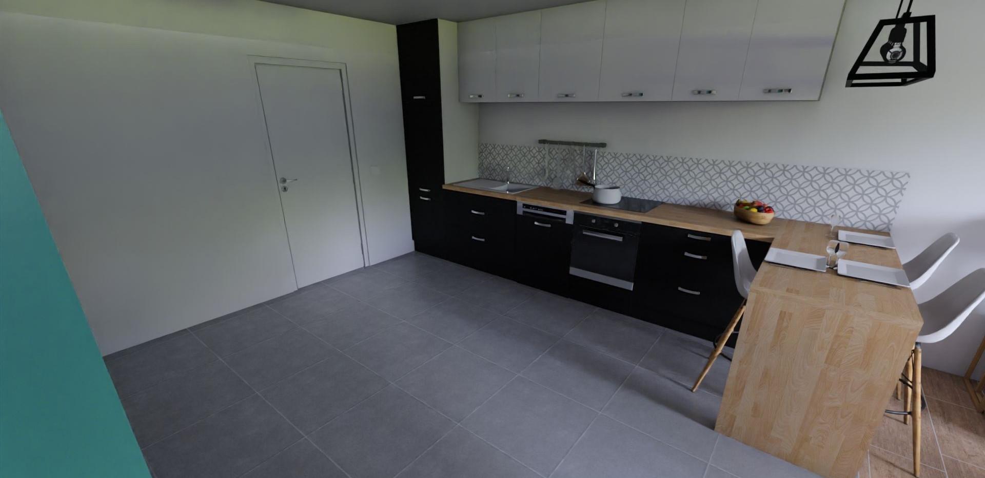 Vue 3D de la cuisine, réalisée par l'Atelier De Nath