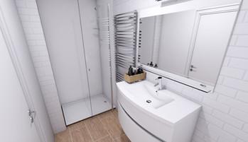 Vue 3D de la salle d'eau, réalisée par l'Atelier De Nath