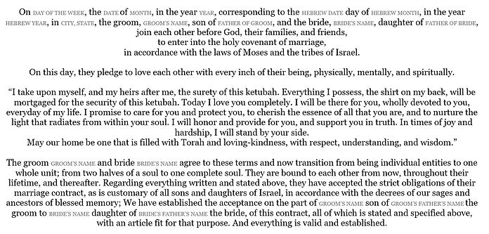 Traditional Spiritual ketubah text option