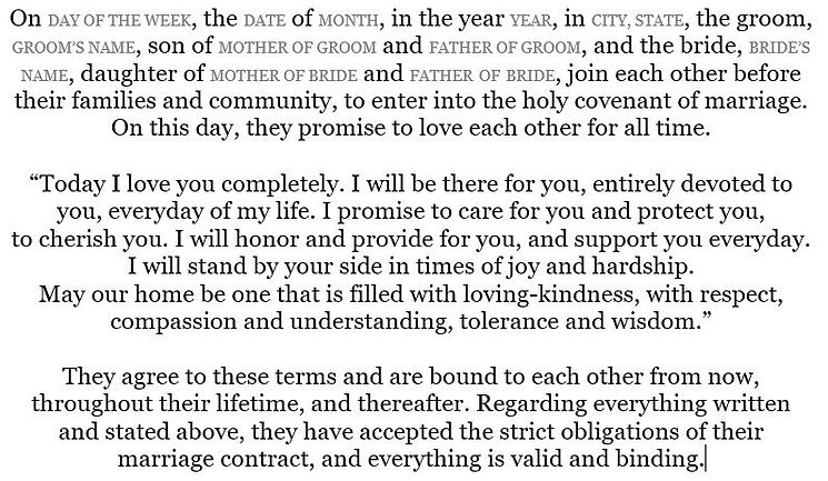 """Our Promise"" ketubah text"