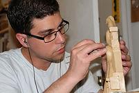 Artist David Master working on a sculpture